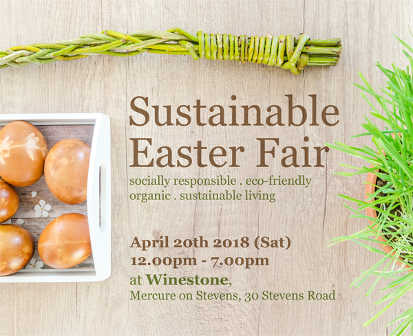 "image with eggs and title saying ""Sustainable Easter Fair"" with event details."