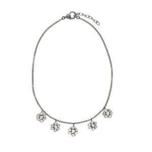 5 Flower Uncut Diamonds Vanity Drop Necklace