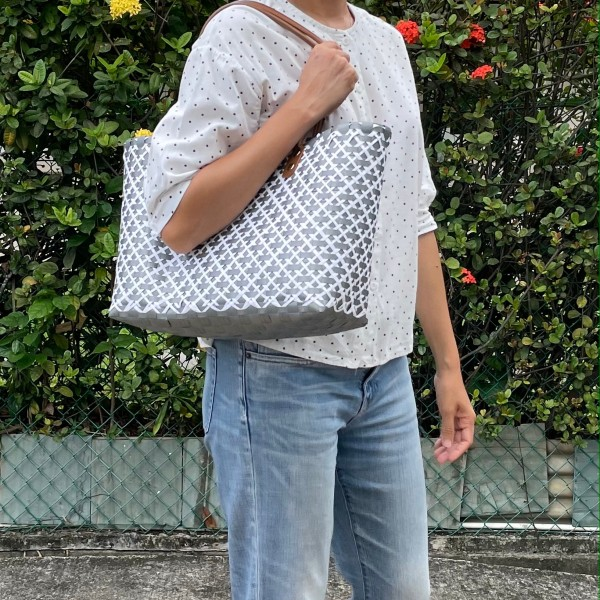 7 Aestivalele Woven bag Criss Cross Silver