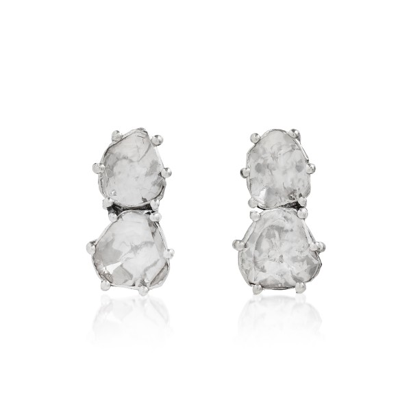 Double Uncut Diamonds Pride Stud Earrings