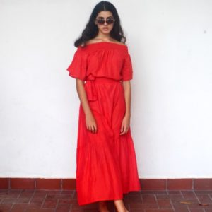 Cotton House Felice Maxi Dress Flame