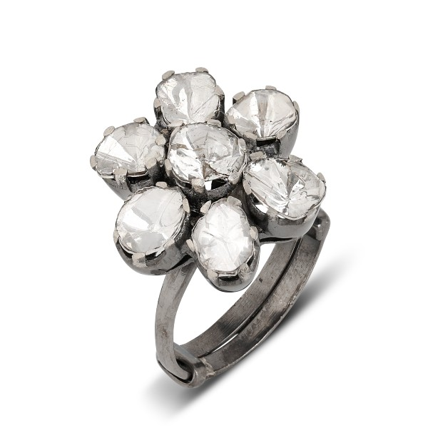 Flower Uncut Diamonds Vanity Adjustable Ring