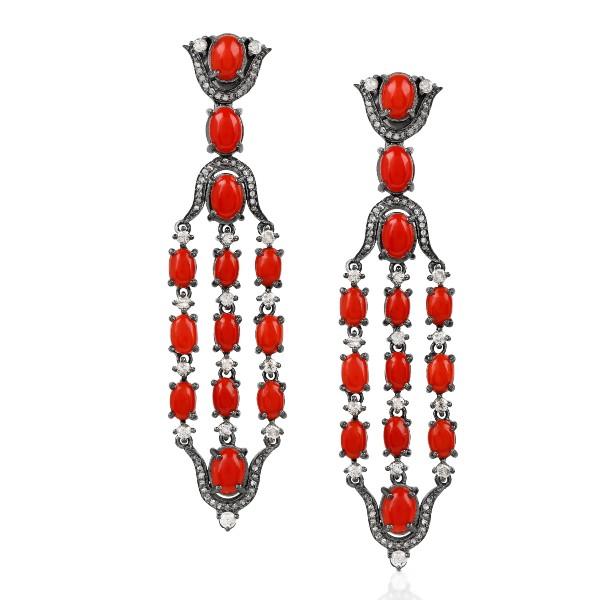 Geometric Coral Fancy Diamonds Wuthering Dangler Earrings