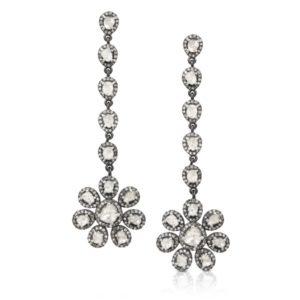 Long Flower Uncut Fancy Diamonds Anna Dangler Earrings