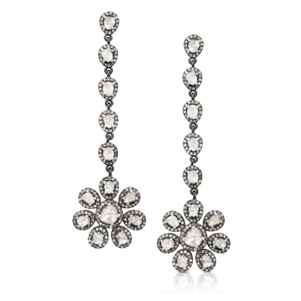 Long Flower Uncut Fancy Diamonds Anna Dangler Earrings