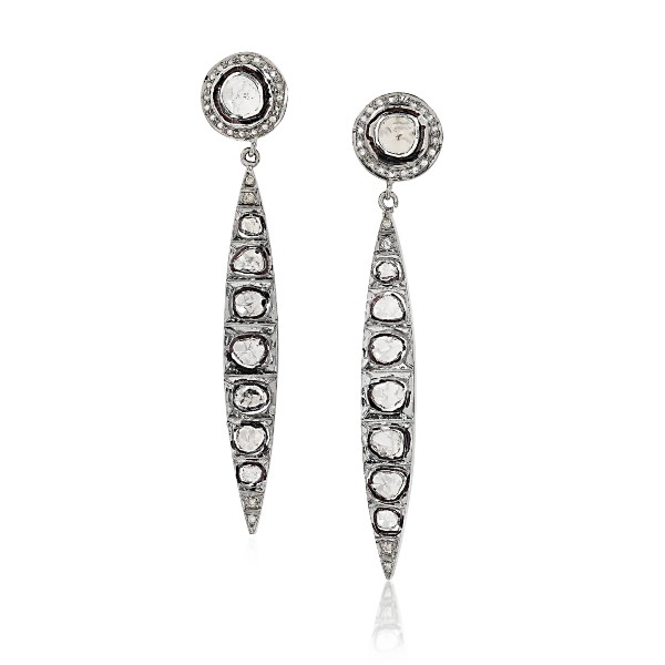 Long Spike Uncut Fancy Diamonds Anna Dangler Earrings