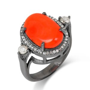 Oval Coral Fancy Diamonds Wuthering Ring