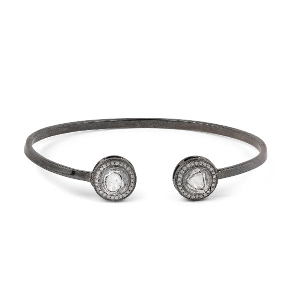 Round Uncut Fancy Diamonds Anna Open Bracelet