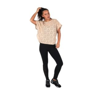 Dreesy Short Sleeve Beige Blouse and Leggings