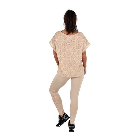 Dressy Nude Color Short Sleeve Lace Top and Nude Leggings