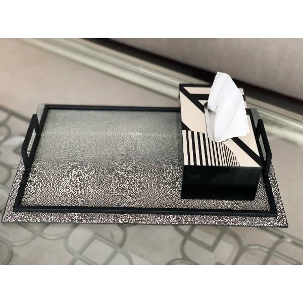 meraki lily gris rectangle tray