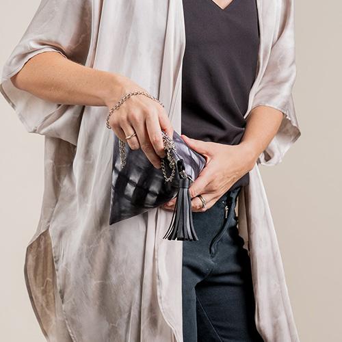 The Batil Boutique Ketupat Bag (Silk) - Black Shibori