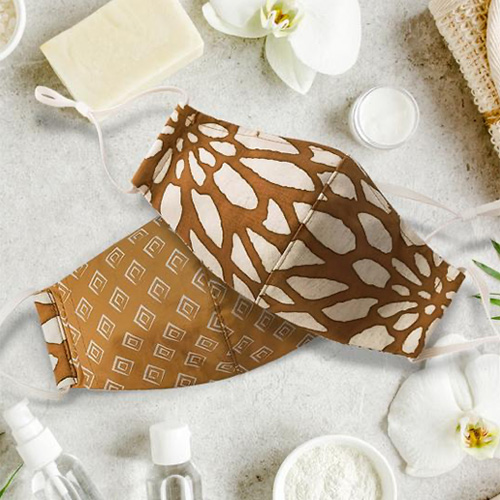 The Batik Boutique Round Face Mask Tan Bunga